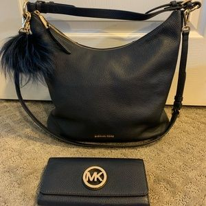 Michael Kors Blue Leather Shoulder Purse & Wallet